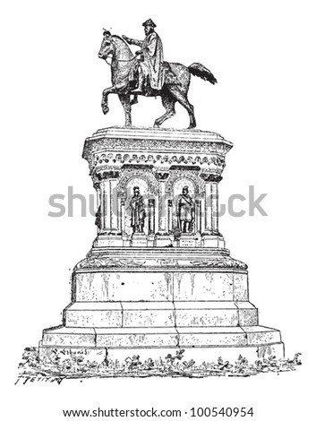 Statue of Charlemagne in Liege, Belgium, vintage engraved illustration. Dictionary of Words and Things - Larive and Fleury - 1895