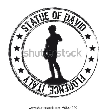statue of david stamp isolated