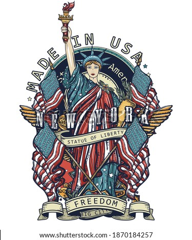 Statue of liberty art. United States of America. Patriotic concept. New York slogan. Old school color tattoo style. History and culture. Traditional USA t-shirt design