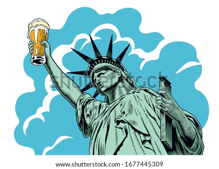 Statue of liberty holding a beer glass. Comic style engraving style vector illustration. Zdjęcia stock ©