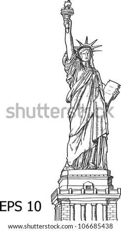 Statue of Liberty (Liberty Enlightening the World ) Line Vector Illustrator, EPS 10.