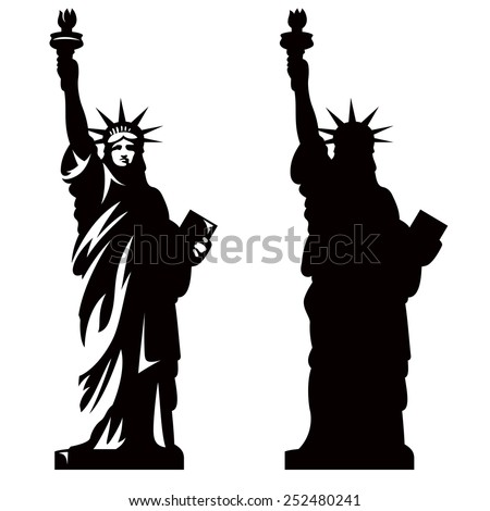 Statue of Liberty. New York landmark. American symbol. Vector silhouette