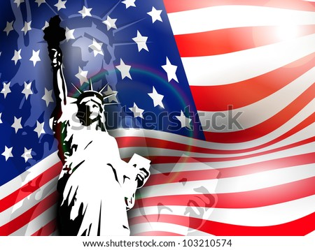 Statue of liberty on American flag  background for 4th July American Independence Day and other events. Vector illustration. EPS 10.