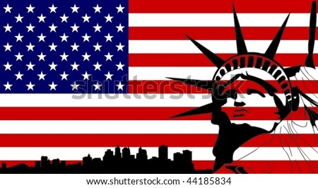 Statue of Liberty on the USA Flag with New York sillhouette