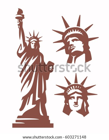 Statue of Liberty silhouette and heads vector set