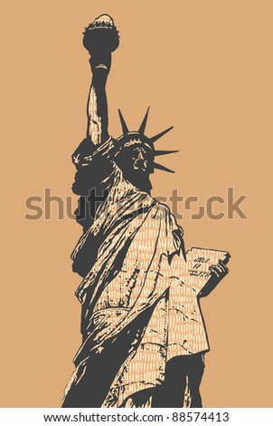 statue of liberty  sketch style