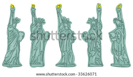 Statue of Liberty sketches at different view angles - stock vector