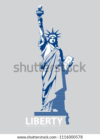 Statue of Liberty USA, 2018,poster. Blue Linear Picture.National Symbol of America. Illustration,gray, background. Use presentations,corporate reports, text, emblems, labels,logo, inscription,vector