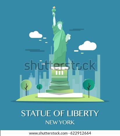 Statue Of Liberty.Vector Illustration.