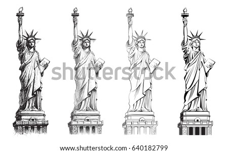 statue of liberty  vector set