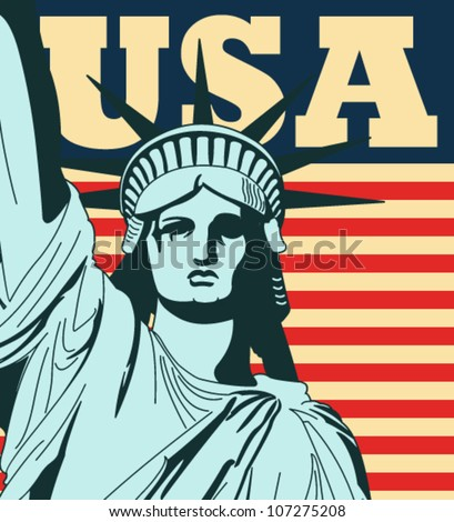 Statue of Liberty with a large american flag in the background in vector art