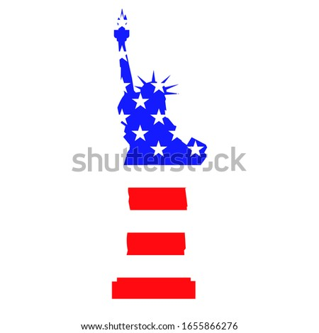 statue of liberty with flag
