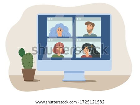 Stay and work from home. Video conference illustration. Workplace, laptop screen, group of people talking by internet. Stream, web chatting, online meeting friends. Coronavirus, quarantine isolation.