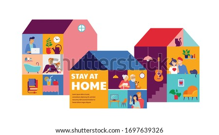 Stay at home, concept design. House facade with different types of people looking out and communicating with their neighbors. Self isolation, quarantine during coronavirus outbreak. Vector flat style