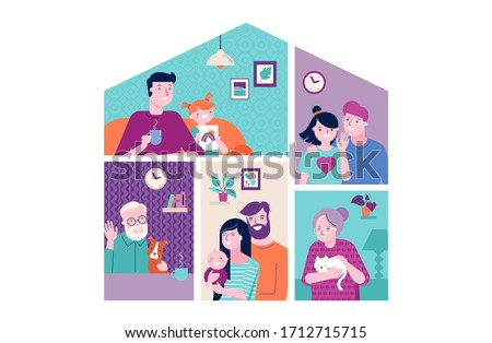 Stay at home design concept. House facade with different types of people looking out and communicating with their neighbors. Self isolation, quarantine during coronavirus outbreak. Vector flat style