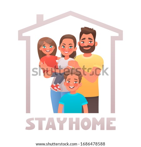 Stay at home. Parents and children in quarantine. Family under the roof of the house. Motivational poster aimed at reducing the spread of coronavirus Covid-19. Vector illustration in cartoon style