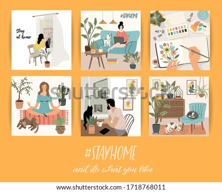 Stay at home. People stay in cozy house. Vector illustrations. Concept for self-isolation during quarantine and other use.
