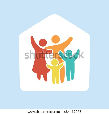 Stay at Home. Quarantine family icon multicolored in simple figures. Two children, dad and mom stand together. Vector can be used as logotype.