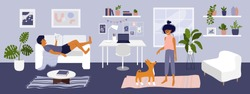 Stay at home vector illustration. Young couple spending time in living room, man reading book, cute girl playing with dog. Card cozy modern apartment interior with houseplants. Coronavirus quarantine.
