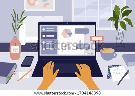 Stay at home, work or study remotely. Student desktop. E-learning, online education or internet courses. Man or woman working from home by laptop. Coronavirus quarantine isolation. Vector illustration