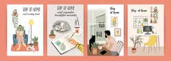 Stay at home. Young men and women stay in cozy house. Vector illustrations. Concept for self-isolation during quarantine and other use.
