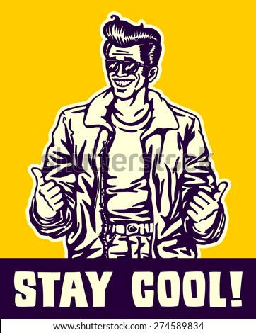 Stay cool! Dude in leather jacket and rockabilly pompadour hairstyle making thumbs up gesture, cool guy, stylish vintage man ストックフォト ©