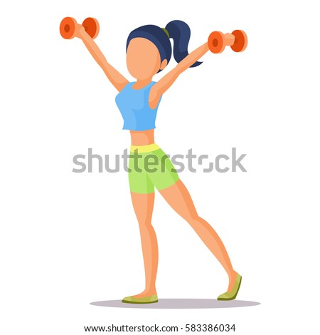 Stay Fit Vector People Illustration with a Fitness Girl, Sportswear and Dumbbells. Isolated Fitness Girl. Vector Fitness Girl. Colorful