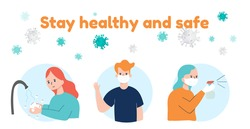 Stay Healthy and safe from coronavirus   poster design for help and protect from 2019-nCov disease, Virus protection Vector illustration.
