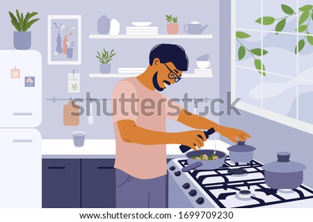 Stay home and cook healthy food yourself. Smiling man cooking homemade meals in small cozy kitchen. Father preparing dinner on big stove. Coronavirus quarantine lockdown. Lifestyle vector illustration