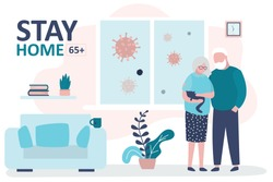 Stay home 65 and older banner template. Elderly couple at home. Quarantine or self-isolation. Grandparents health care concept. Fears of getting coronavirus. Global viral epidemic or pandemic.Vector
