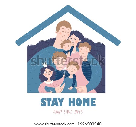 Stay home and save lives. Quarantine and self-isolation. Vector illustration of a family at home during the coronavirus epidemic for health. Drawing for sign, icon or card.  Foto stock ©