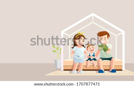 Stay home banner. Happy family staying at home during the Coronavirus, Covid-19 quarantine. Vector illustration in flat style