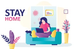 Stay home banner template. Woman work online, teleworking. Quarantine or self-isolation. Health care concept. Fears of getting coronavirus. Global viral epidemic or pandemic. Flat vector illustration