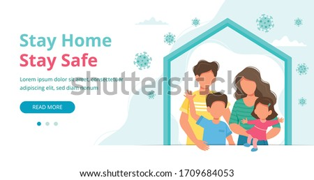 Stay home concept. Family staying at home in quarantine, landing page or banner template. Coronavirus outbreak concept. Vector illustration in flat style