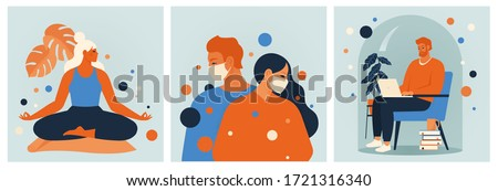 Stay home concept.  Girl doing meditation, mansiting in a chair working online  at home, young couple. Self isolation, quarantine due to coronavirus. Set of illustration of home activitie