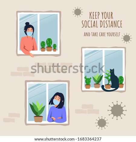 Stay home concept. House facade with windows and girls look out of apartment. Self-isolation during an epidemic. Illustration of prevention from virus pneumonia. Stay at home stay safe