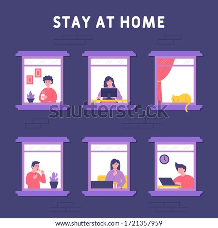 stay home concept people were
