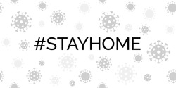 Stay home. Coronavirus quarantine vector banner with covid-19 virus background. For social media message