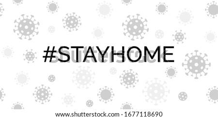 Stay home. Coronavirus quarantine vector banner with covid-19 virus background. For social media message