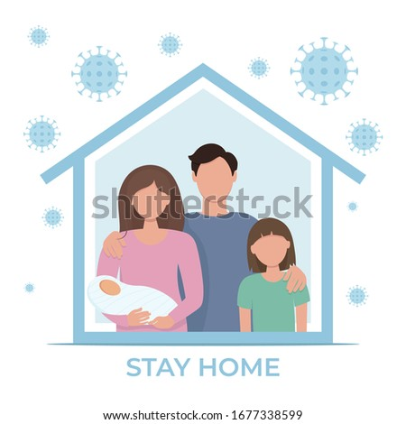 Stay home during the coronavirus epidemic. Family staying at home in self quarantine, protection from virus. Coronavirus outbreak concept. Vector illustration in flat style