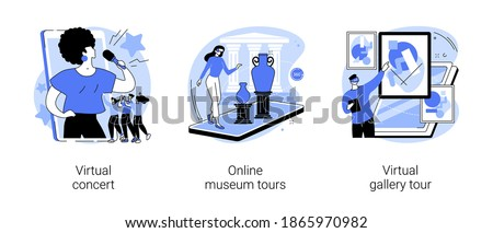 Stay home entertainment abstract concept vector illustration set. Virtual concert, online museum tour, virtual gallery tour, art therapy, leasure time, online education, live stream abstract metaphor.