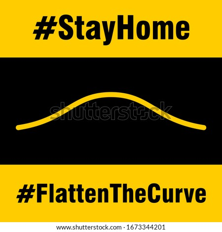 Stay Home Flatten The Curve Hashtag Sign. Vector Image.