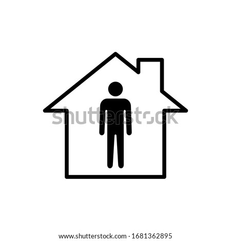 Stay home icon. Stay at home sign. Social Distancing and Self Quarantine. Quarantine measures sign. Coronavirus.  Stock photo ©
