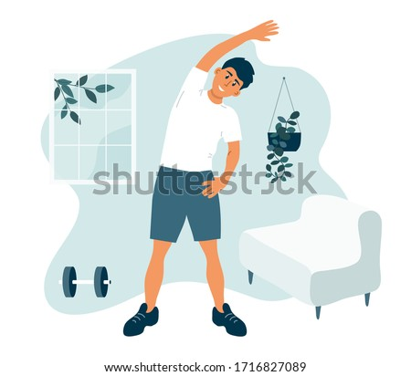 Stay home, keep fit and positive. Man doing side bends, stretching. Sport exercise, fitness workout. Physical activity, healthy lifestyle concept. Quarantine lockdown vector illustration.