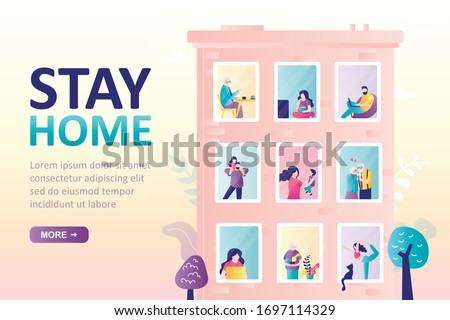 Stay home landing page template. Building with windows. Various people in their apartments. Self-isolation or quarantine. Citizens at home. Pandemic Covid-19. Health care concept. Vector illustration