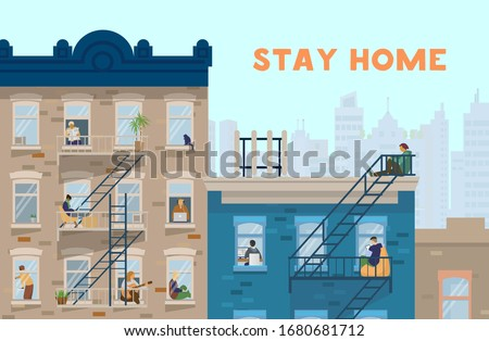 Stay home motivational banner. People in windows staying home due to quarantine , working, studying, playing guitar, reading. Brick houses front. Flat vector illustration.
