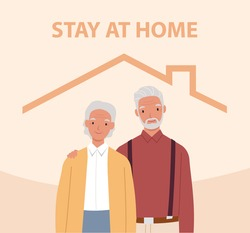 Stay home. Old man and woman inside the house. Concept for controlling the disease in 2019-nCov. Vector illustration in a flat style
