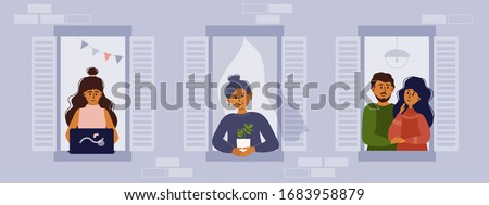 Stay home vector illustration. House facade with windows and neighbors. People look out of apartment, working and smiling. Self isolation, coronavirus quarantine concept. Flyer stay at home save life.