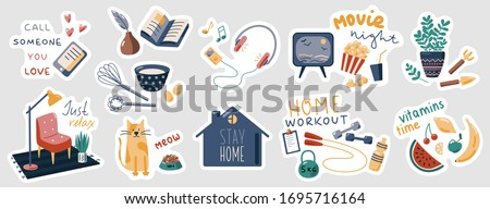Stay Home vector stickers set. Collection of flat cartoon stickers with slogans. Sport, reading, listening to music, cooking. Isolation concept, health care. Home activity. Things to do at home