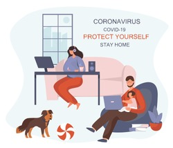 Stay Home Work Home.Protect Yourself.Girl keeping Distance for Decrease Infection Risk For Prevent Virus Covid-19.Stay Home on Quarantine During the Coronavirus Epidemic.Vector Illustration